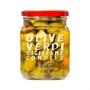 Olive Verdi siciliane condite