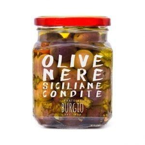 Olive Nere siciliane condite fratelli Burgio Siracusa