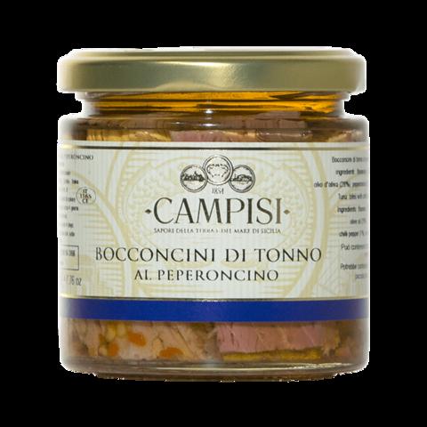 Bocconcini di Tonno al Peperoncino in Olio d'oliva Campisi 220g