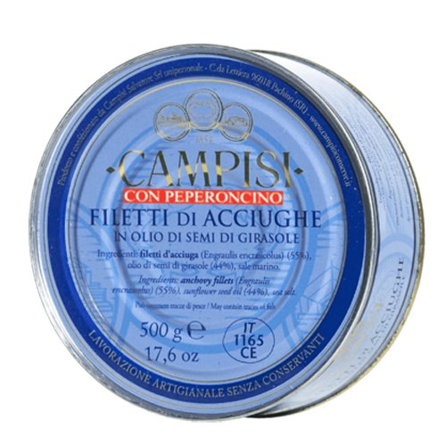 Filetti di Acciughe con Peperoncino Campisi Latta 500g