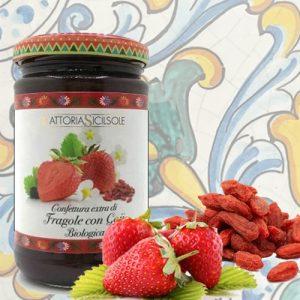Confettura Extra di Fragole e Goji Biologiche Fattoria Sicilsole
