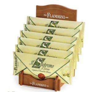 """Torrone Flamigni Il """"Supremo"""" ai pistacchi ricoperto di Cioccolato Bianco in Busta Pergamena"""