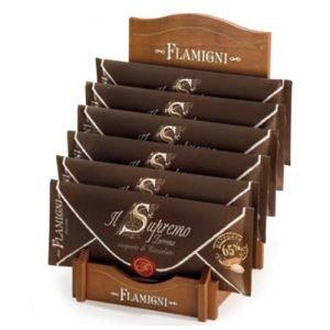 """Torrone Flamigni """"Supremo"""" alle Mandorle ricoperto di Cioccolato Fondente in busta Pergamena"""