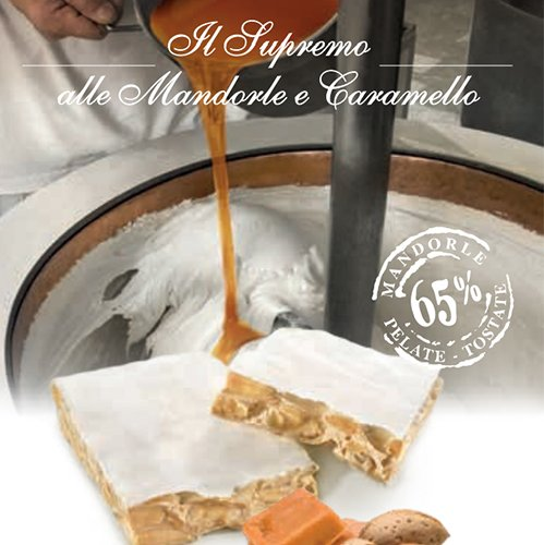 """Torrone Flamigni """"Supremo"""" Friabile alle Mandorle al Caramello in busta Pergamena"""
