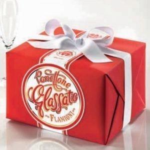Panettone Glassato Flamigni in pacchetto regalo con nastro