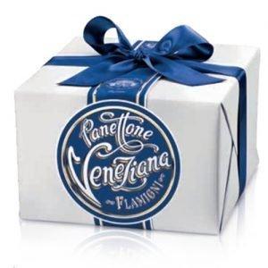 panettone Veneziana in pacchetto regalo con nastro Flamigni