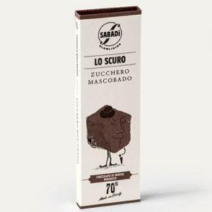 """Cioccolato di Modica fondente 70% IGP bio con Zucchero Mascobado """"Lo Scuro"""" Sabadì"""