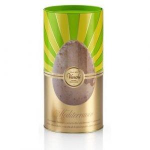 """Uovo di Cioccolato Bianco Pistacchio e Limone """"Mediterraneo"""" in cilindro di metallo 250g"""